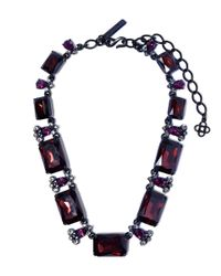 Oscar de la Renta - Purple Burgundy Quartz And Crystal Octagon Necklace - Lyst