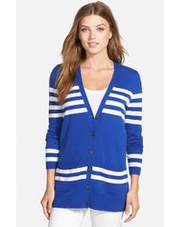 Caslon | Blue 'collegiate' V-neck Cardigan | Lyst