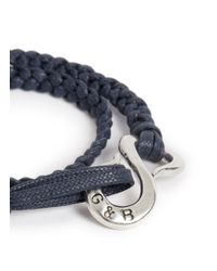 Giles & Brother - Blue Brass Nut Braided Cotton Lacing Bracelet for Men - Lyst