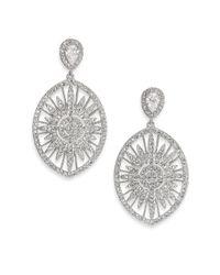 Adriana Orsini | Metallic Radiance Pavé Oval Drop Earrings/silvertone | Lyst