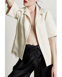 Carolina Ritzler | Natural Off White Wool Jacket | Lyst