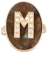 Carolina Bucci - Metallic Rose Gold Diamond And Labradorite M Initial Ring - Lyst