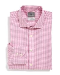 Thomas Dean | Pink Regular Fit Non-iron Check Dress Shirt for Men | Lyst