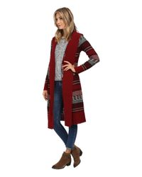 BB Dakota | Red Kaiden Knit Hooded Maxi Cardigan | Lyst
