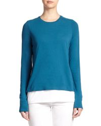Vince - Blue Double Layer Cotton-blend Tee - Lyst