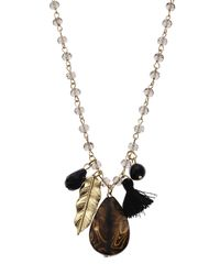 Cara   Metallic Gold-Tone & Black Feather Necklace   Lyst