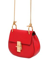 Chloé - Red Mini Drew Grained Nappa Leather Bag - Lyst