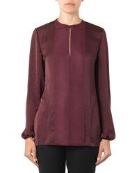 Lanvin - Red Round-Neck Washed-Satin Blouse - Lyst