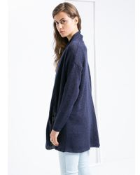 Mango - Blue Long Cotton Cardigan - Lyst