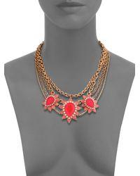 ABS By Allen Schwartz - Red Sunset Blvd Floral Multi-chain Necklace - Lyst