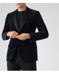 Reiss - Blue Jenson Slim-Fit Velvet Blazer for Men - Lyst
