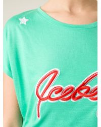 Iceberg - Green Logo Embroidered T-Shirt - Lyst