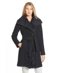 Vince Camuto | Blue Faux Fur Trim Wool Blend Wrap Coat | Lyst