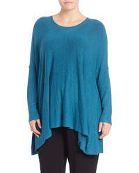 Eileen Fisher - Blue Boxy Scoopneck Sweater - Lyst