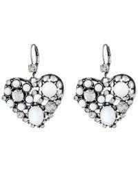 Betsey Johnson | Metallic Silver-Tone Mixed Bead Heart Drop Earrings | Lyst
