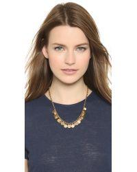 Tory Burch | Metallic Logo Charm Short Necklace - Worn Gold | Lyst