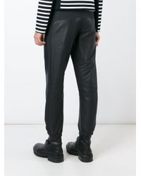 T By Alexander Wang - Black Contrast Panel Trousers for Men - Lyst