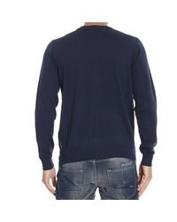 Armani Jeans - Blue Sweater V Neck Basic With Logo for Men - Lyst