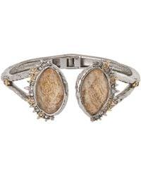 Alexis Bittar | Metallic Silver Crystal Studded Jasper Doublet Hinged Bracelet | Lyst