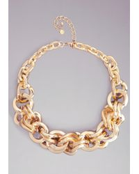 Bebe | Metallic Oversized Chain Necklace | Lyst