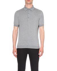 John Smedley | Metallic Adrian Cotton Polo Shirt, Men's, Size: S, Silver for Men | Lyst