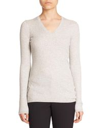 Vince | Gray Skinny Ribbed V-neck Sweater | Lyst