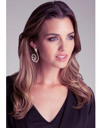 Bebe - Metallic Crystal Snake Earrings - Lyst
