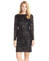 Marina | Black V-Back Sequined Sheath Dress | Lyst