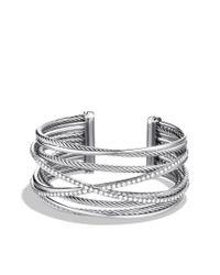 David Yurman - Metallic Crossover Fiverow Cuff with Diamonds - Lyst