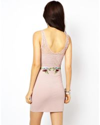 Free People | Pink Embellished Bodycon Dress | Lyst