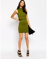 ASOS | Black Petite Sleeveless Crop Top Bodycon Dress With Turtle Neck | Lyst