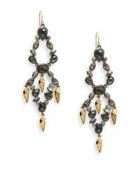 Alexis Bittar | Metallic Elements Glass, Pyrite Doublet & Swarovski Crystal Tiered Chandelier Earrings | Lyst