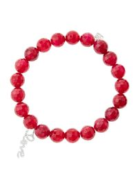 Sydney Evan | 8Mm Faceted Red Agate Beaded Bracelet With 14K White Gold/Diamond Love Charm (Made To Order) | Lyst
