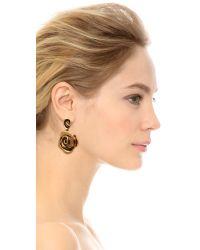 Oscar de la Renta - Metallic Flower Earrings Russian Gold - Lyst