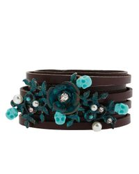 Betsey Johnson - Blue Patina Leather Bracelet with Floral Decoration - Lyst