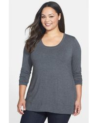 Lyssé - Gray Scoop Neck Jersey Top With Shaping Liner - Lyst