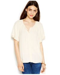 Maison Jules - White Flutter-Sleeve Tie-Front Blouse - Lyst