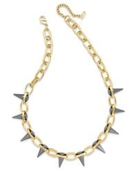 ABS By Allen Schwartz | Gray Two-tone Spike Collar Necklace | Lyst