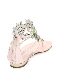 Rene Caovilla - Pink Crystal-Cage Karung Sandals - Lyst