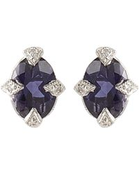 Cathy Waterman | White Diamond, Iolite & Platinum Studs Size Os | Lyst