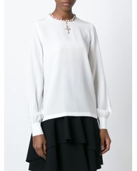 Dolce & Gabbana - White Embellished Cross Blouse - Lyst