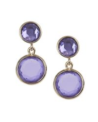 Anne Klein | Purple Goldtone Tanzanite Double Drop Earrings | Lyst