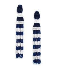 Oscar de la Renta | Blue Striped Tassel Earrings - Black/White | Lyst