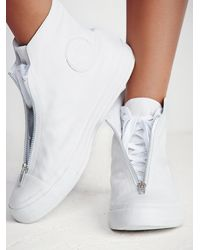 Free People - White Leather Shroud High Top Chucks - Lyst
