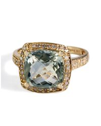 Effy | Green Amethyst And Diamond Ring In 14k Yellow Gold 0.2 Ct. T.w. | Lyst
