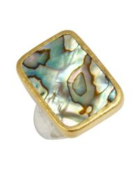 Gurhan | Green Abalone And Silver 'galapagos' Rectangular Ring | Lyst