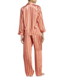 Jones New York | Pink Two-Piece Stripe Satin Pajama Set | Lyst