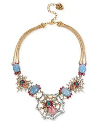 Betsey Johnson | Blue Two-tone Pave Spider Web Statement Necklace | Lyst