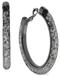 Betsey Johnson | Gray Hematite-Tone Mesh-Wrapped Crystal Hoop Earrings | Lyst