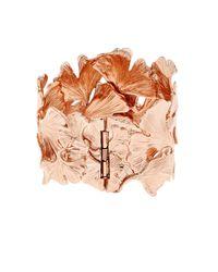 Aurelie Bidermann - Pink Ginkgo Rose-gold Plated Wide Cuff - Lyst
